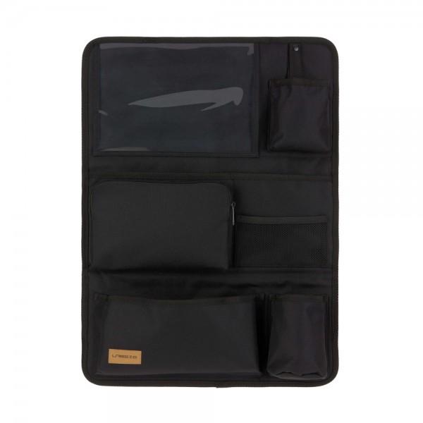 Für Fans von edlem und schlichten Design: Autositz-Organizer Wrap-to-Go in Schwarz