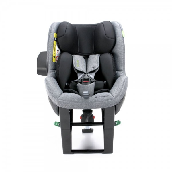 Grauer Reboard-Kindersitz Sky von Avionaut mit schwarzem Neugeboreneneinsatz