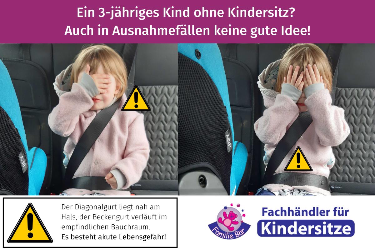 Ausnahmen Kindersitzpflicht Kind nur mit Autogurt gesichert