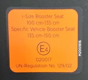 Zulassungsaufkleber BeSafe FlexFix i-Size-Folgesitz