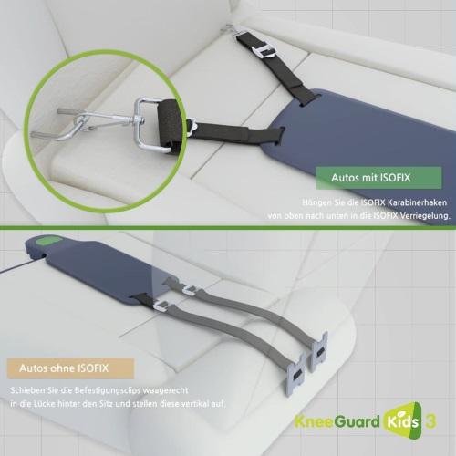 Montage Kneeguard im Auto Beinstütze