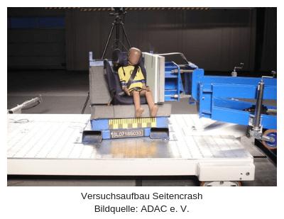 Seitencrash Testaufbau ADAC Kindersitztest