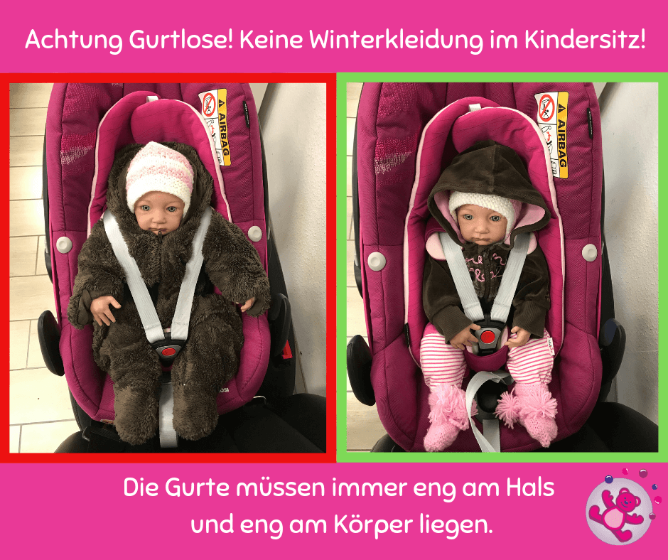 Skianzug Kindersitz gefährlich Puppe Babyschale