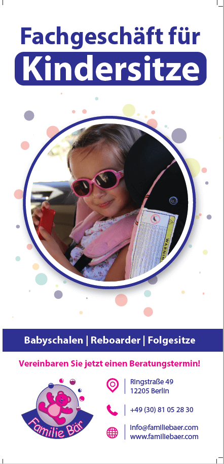 Flyer Deckblatt Babyschalen Reboarder Folgesitze Familie Bär