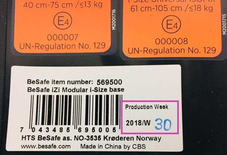 Herstellungsdatum BeSafe Modular