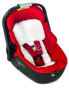 Roter Babyträger mit weißem Einsatz von Jane i-Matrix Babyschale