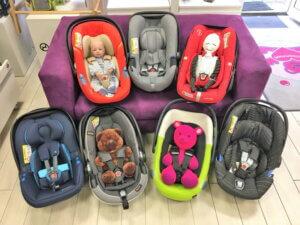Babyschalen verschiedene Sortiment Übersicht
